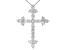 White Diamond 10K White Gold Cross Pendant With Chain 1.00ctw