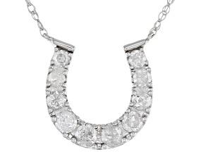 White Diamond 10K White Gold Horseshoe Necklace 0.40ctw