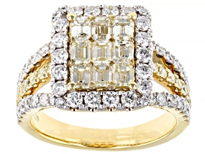 Natural Yellow And White Diamond 14K Yellow Gold Cluster Ring 2.40ctw