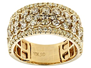 Natural Yellow Diamond 10K Yellow Gold Wide Band Ring 1.20ctw