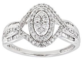 White Diamond 10K White Gold Cluster Ring 0.50ctw