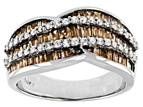 Champagne And White Diamond 10K White Gold Wide Band Ring 1.25ctw