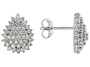 White Diamond 10K White Gold Cluster Earrings 1.00ctw