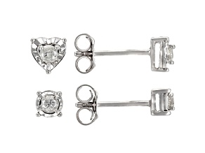 White Diamond Rhodium Over Sterling Silver Round And Heart Stud Earrings Set 0.20ctw