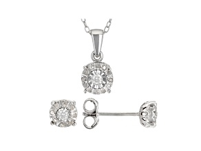 White Diamond Rhodium Over Sterling Silver Earrings And Pendant Jewely Set 0.20ctw