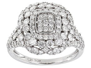 White Diamond 10K White Gold Cluster Ring 1.40ctw