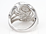 White Diamond 10K White Gold Cocktail Ring 1.50ctw