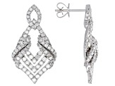White Diamond 10K White Gold Dangle Earrings 1.55ctw