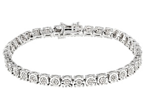 White Diamond Rhodium Over Sterling Silver Tennis Bracelet 0.20ctw