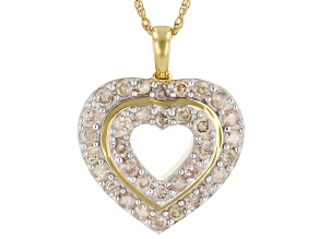 Diamond 14K Yellow Gold Over Sterling Silver Heart Pendant With Chain 1.00ctw