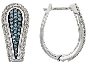 Blue And White Diamond Rhodium Over Sterling Silver Hoop Earrings 0.70ctw
