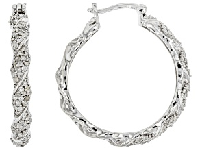 White Diamond Rhodium Over Sterling Silver Hoop Earrings 1.00ctw