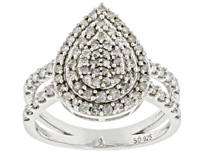 White Diamond Rhodium Over Sterling Silver Cluster Ring 0.90ctw