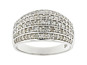 White Diamond Rhodium Over Sterling Silver Wide Band Ring 0.90ctw