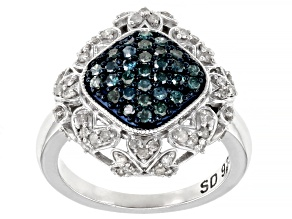 Blue And White Diamond Rhodium Over Sterling Silver Cluster Ring 0.80ctw