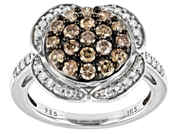 Picture of Champagne And White Diamond Rhodium Over Sterling Silver Cluster Ring 1.00ctw