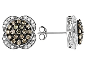 Champagne And White Diamond Rhodium Over Sterling Silver Cluster Earrings 1.25ctw