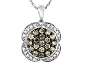 Champagne And White Diamond Rhodium Over Sterling Silver Cluster Pendant With Chain 1.00ctw