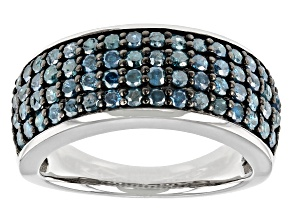 Blue Diamond Rhodium Over Sterling Silver Wide Band Ring 1.35ctw