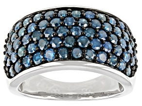 Blue Diamond Rhodium Over Sterling Silver Wide Band Ring 2.30ctw