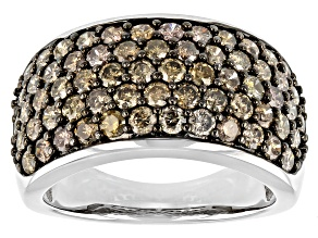 Champagne Diamond Rhodium Over Sterling Silver Wide Band Ring 2.20ctw