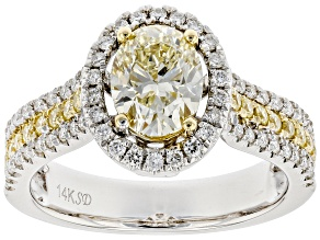 Natural Yellow And White Diamond 14K White Gold Halo Ring 1.41ctw