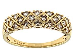 White Diamond 10K Yellow Gold Band Ring 0.50ctw