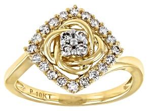 White Diamond 10K Yellow Gold Cluster Ring 0.45ctw