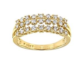 White Diamond 10K Yellow Gold Multi-Row Band Ring 0.50ctw