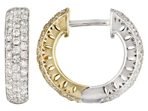 Natural Yellow And White Diamond 14K Two-Tone Gold Huggie Earrings 1.00ctw