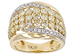 Natural Yellow And White Diamond 10K Yellow Gold Wide Band Ring 1.75ctw