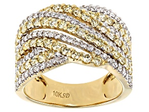 Natural Yellow And White Diamond 10K Yellow Gold Wide Band Ring 1.50ctw