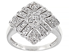 White Diamond 14K White Gold Cluster Ring 0.25ctw