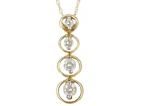 White Diamond 10K Yellow Gold 4-Stone Drop Pendant With Chain 0.25ctw