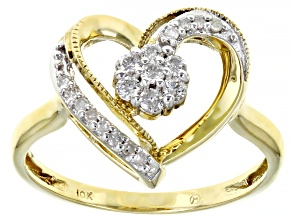 White Diamond 10K Yellow Gold Open Design Heart Ring 0.25ctw