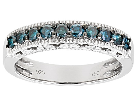Rhodium overlay Sterling silver blue flower band ring size K