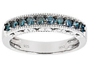 Blue Diamond Rhodium Over Sterling Silver Band Ring 0.50ctw