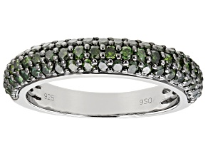 Green Diamond Rhodium Over Sterling Silver Band Ring 1.00ctw