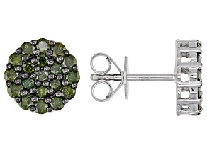 Green Diamond Rhodium Over Sterling Silver Cluster Stud Earrings 1.00ctw