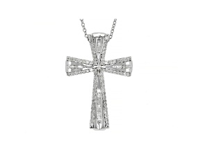 White Diamond Rhodium Over Sterling Silver Cross Pendant With Chain 0.50ctw