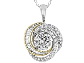 White Diamond 10K Two-Tone Gold Cluster Pendant With Chain 0.33ctw