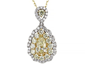 Natural Yellow And White Diamond 14K Two-Tone Gold Cluster Pendant With Chain 2.12ctw