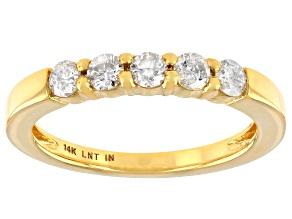 White Diamond 14K Yellow Gold Band Ring 0.40ctw
