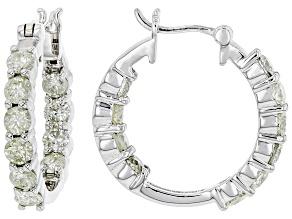 White Diamond 14K White Gold Inside-Out Hoop Earrings 1.65ctw