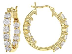 White Diamond 14K Yellow Gold Inside-Out Hoop Earrings 1.65ctw