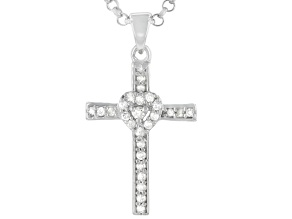 White Diamond Rhodium Over Sterling Silver Cross And Heart Pendant With Chain 0.33ctw