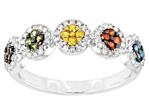 Multi-Color Diamond Rhodium Over Sterling Silver Band Ring 0.60ctw