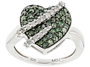 Green And White Diamond Rhodium Over Sterling Silver Heart Cluster Ring 0.80ctw
