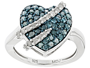 Blue And White Diamond Rhodium Over Sterling Silver Heart Cluster Ring 0.80ctw