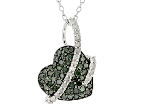 Green And White Diamond Rhodium Over Sterling Silver Heart Cluster Pendant With Chain 0.75ctw